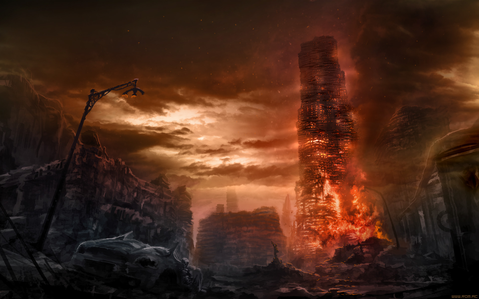 Romantically Apocalyptic Drawing Apocalypse Fire dark wallpaper 1920x1200