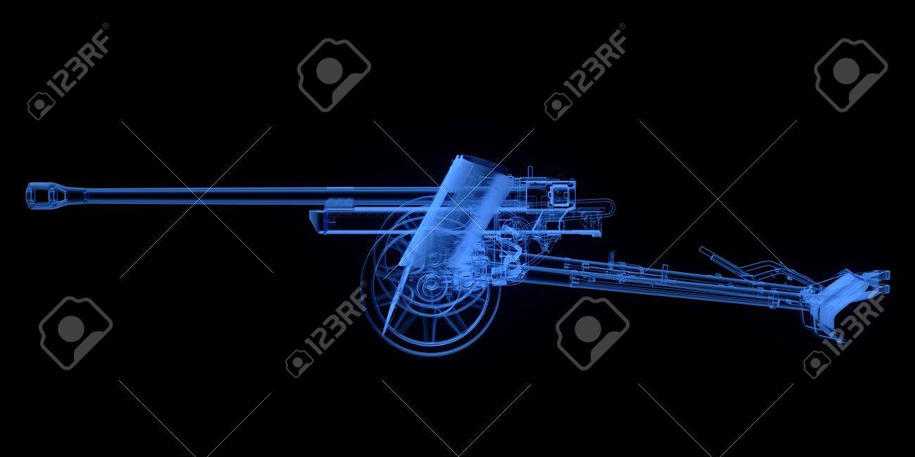 X ray Of Artillery Cannon On Black Background Stock Photo Picture 1300x650