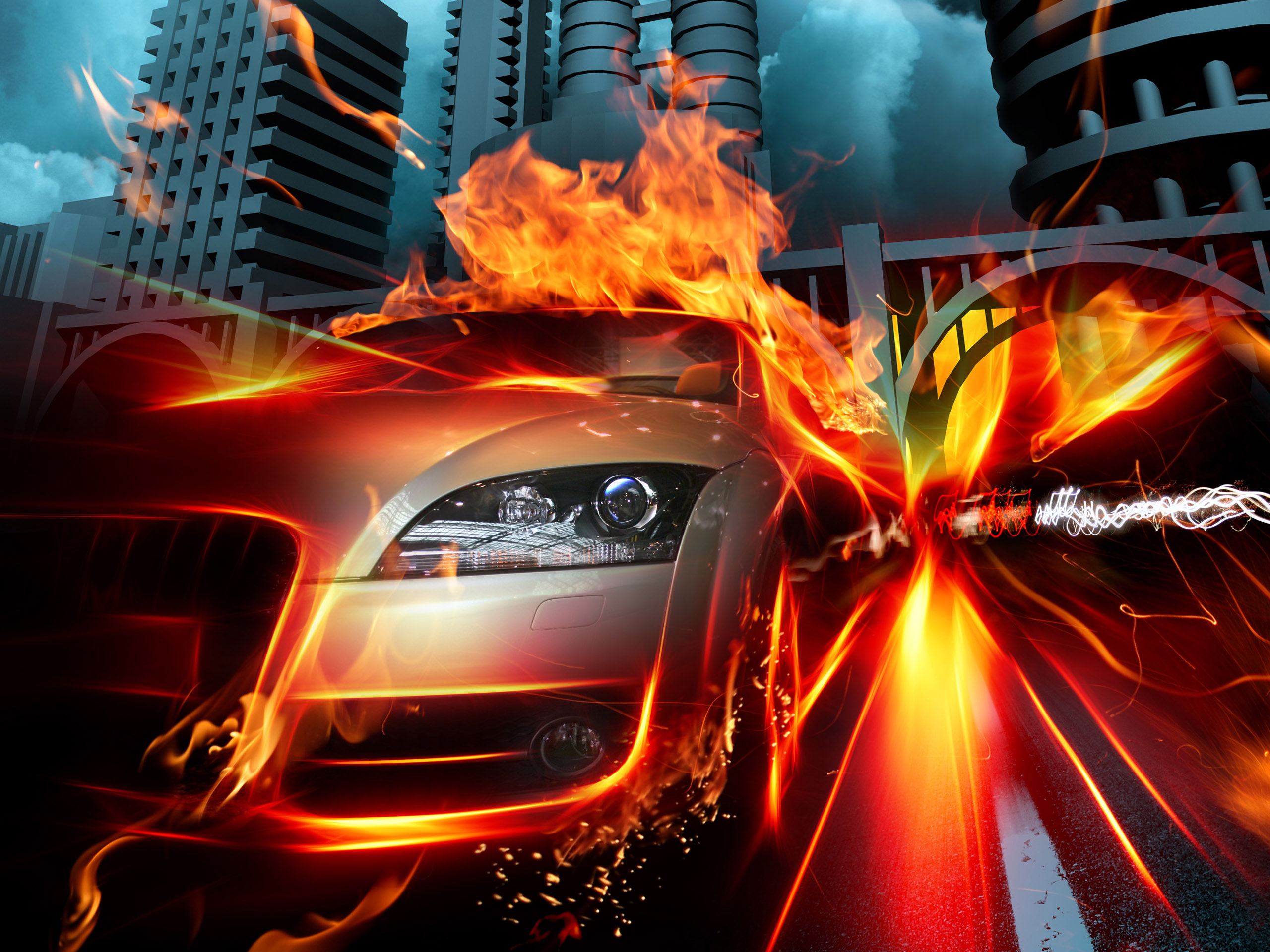 Car in Fire City HQ Wallpapers HD Wallpapers 2560x1920