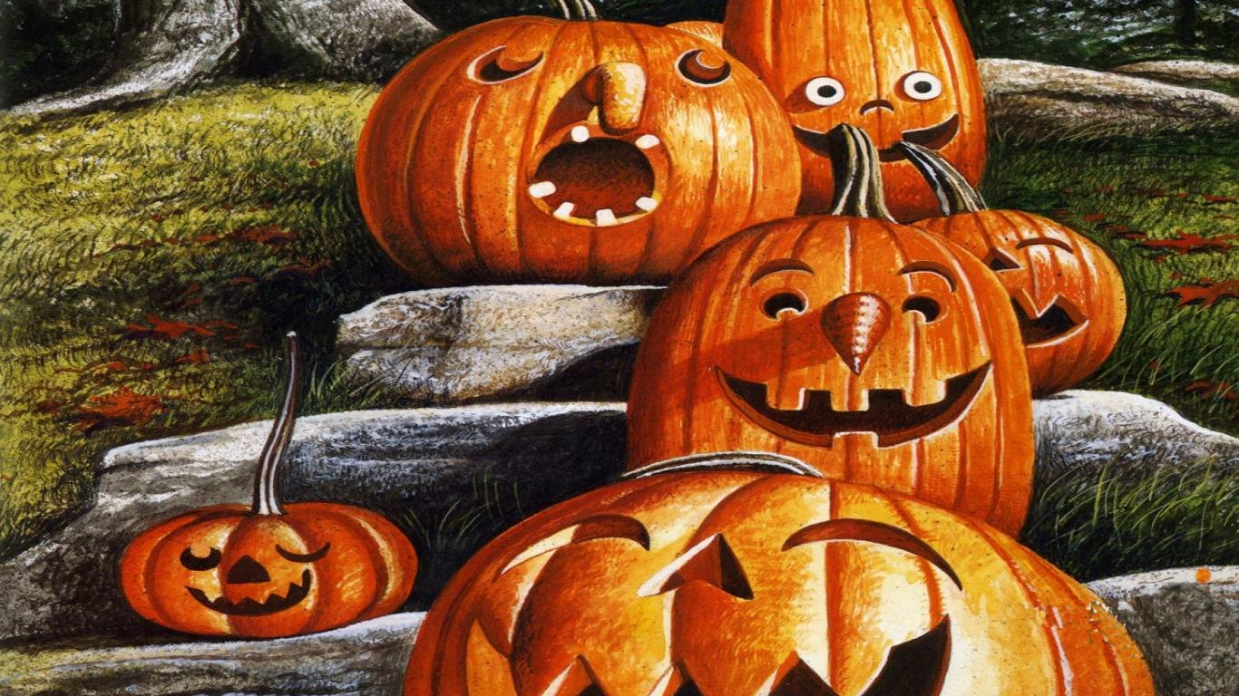 Pumpkin Halloween Wallpapers Funny Pumpkin Head Scare Crow Halloween  1366x768