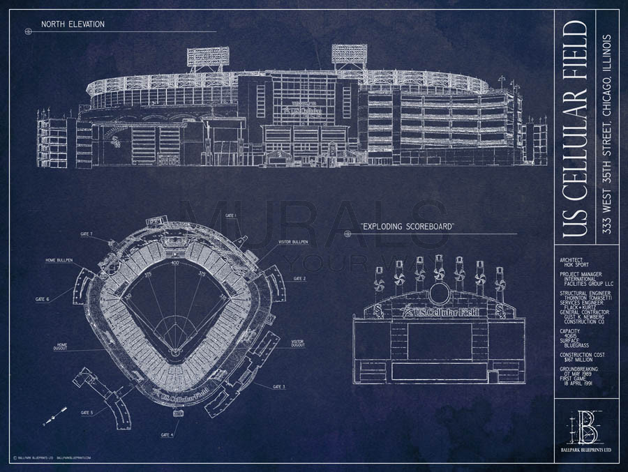 US Cellular Field Blueprint Mural Wallpaper Murals Your Way 900x677