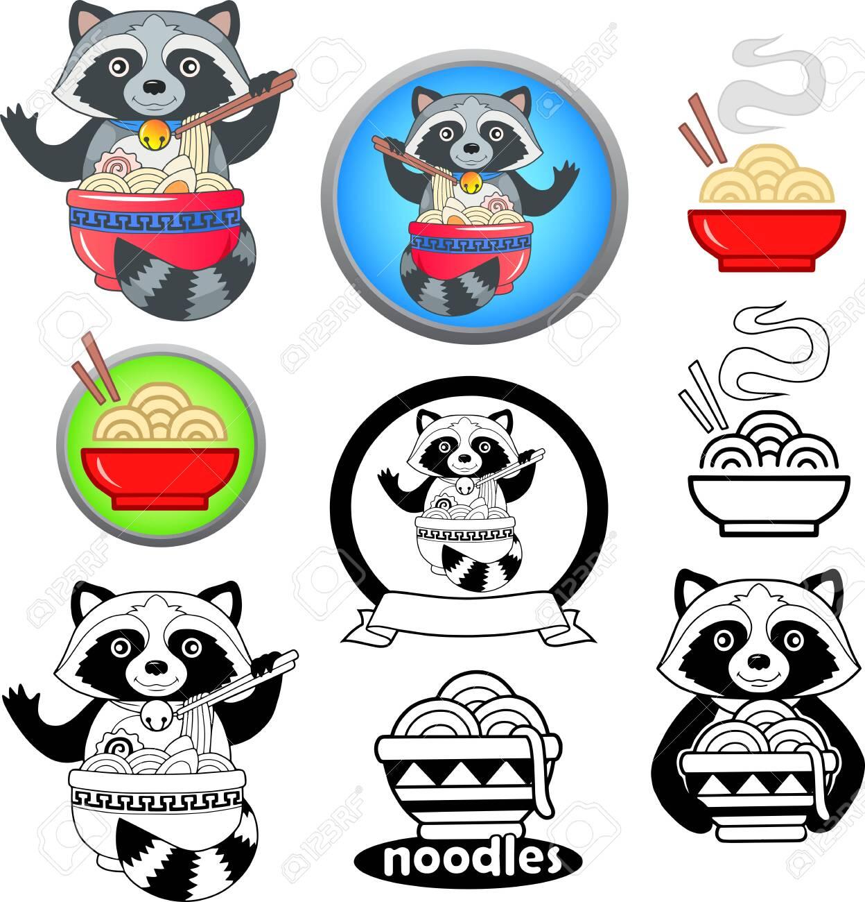 Cartoon Cute Raccoon Eating Ramen Noodles Funny Illustration 1248x1300
