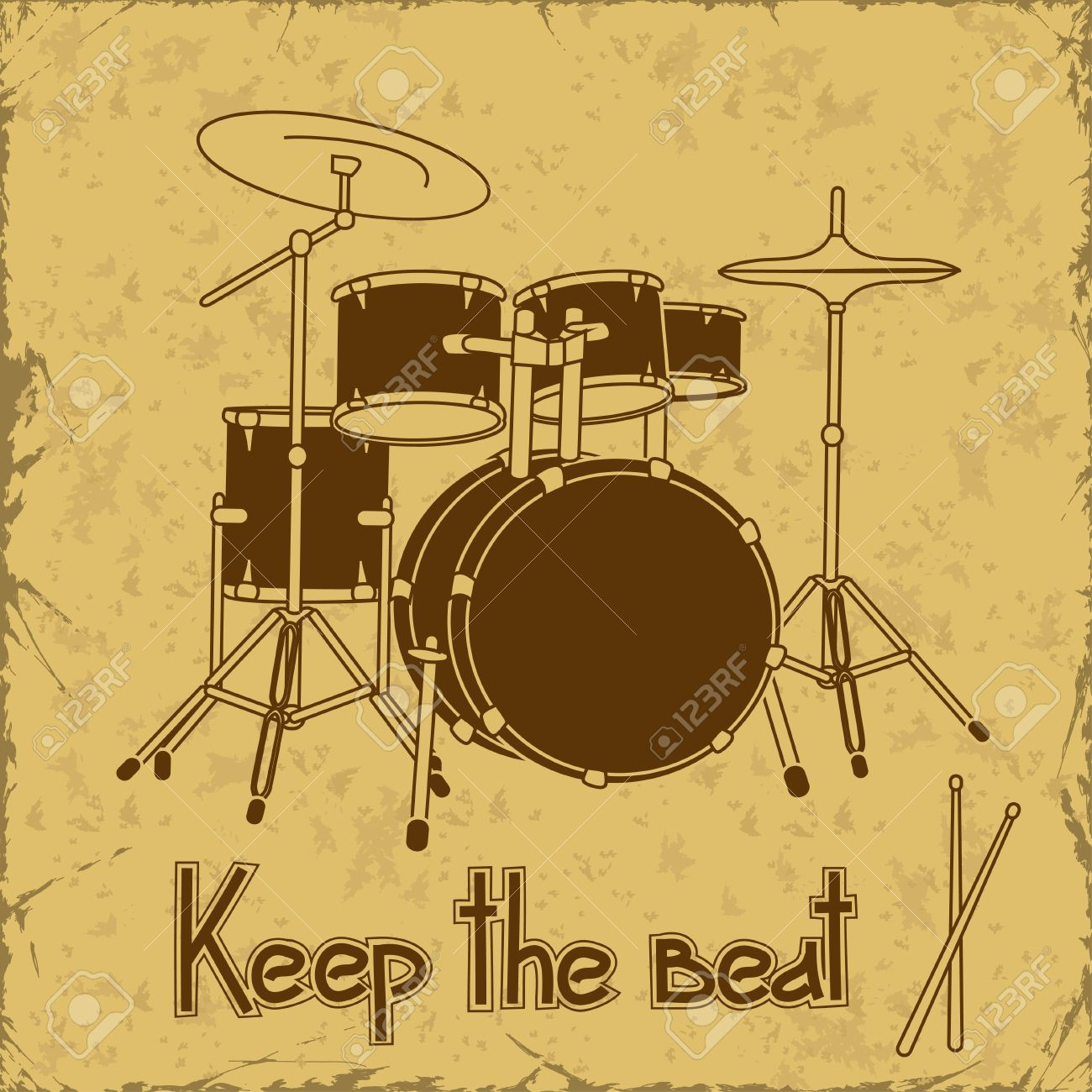 Illustration Of Drum Set On A Vintage Background Royalty 1300x1300