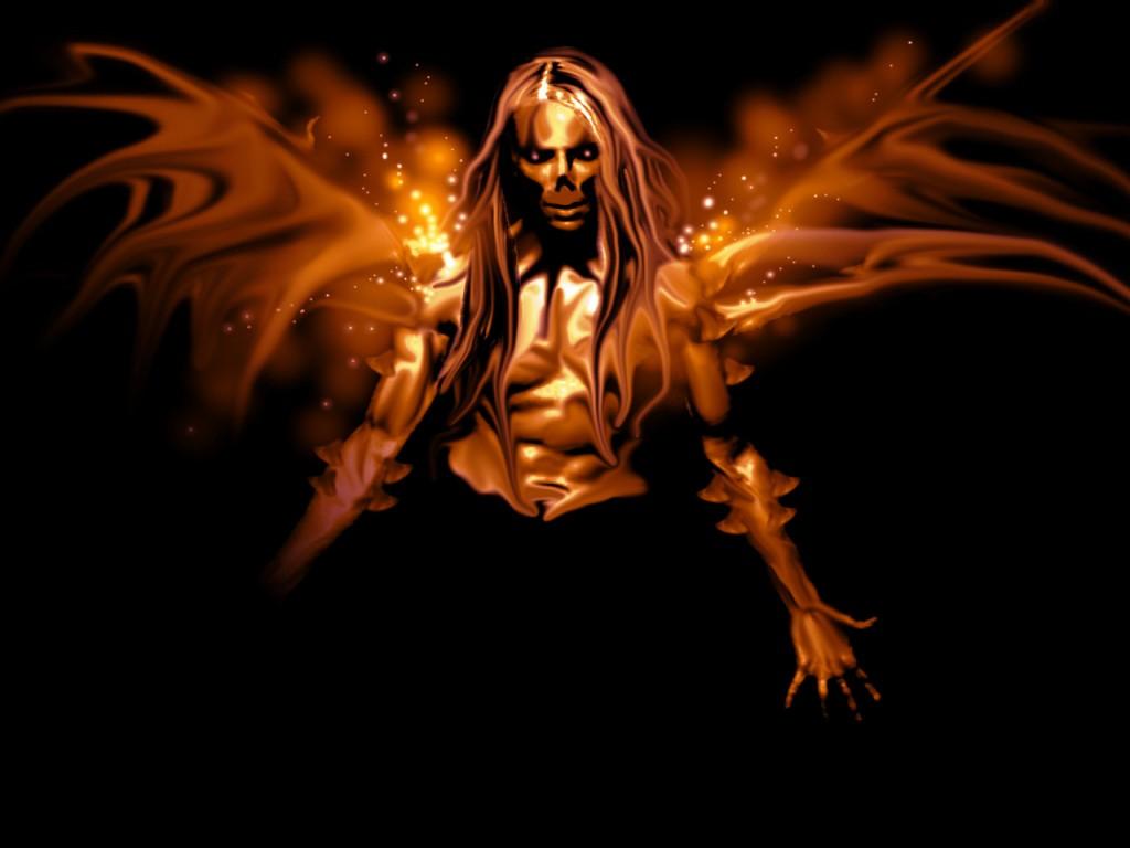 sanctuary Fallen angel   Gothic angel with fiery wings wallpaper 1024x768