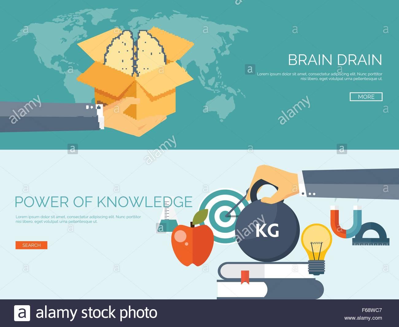 Vector illustration Flat study backgrounds set Brain drain 1300x1065