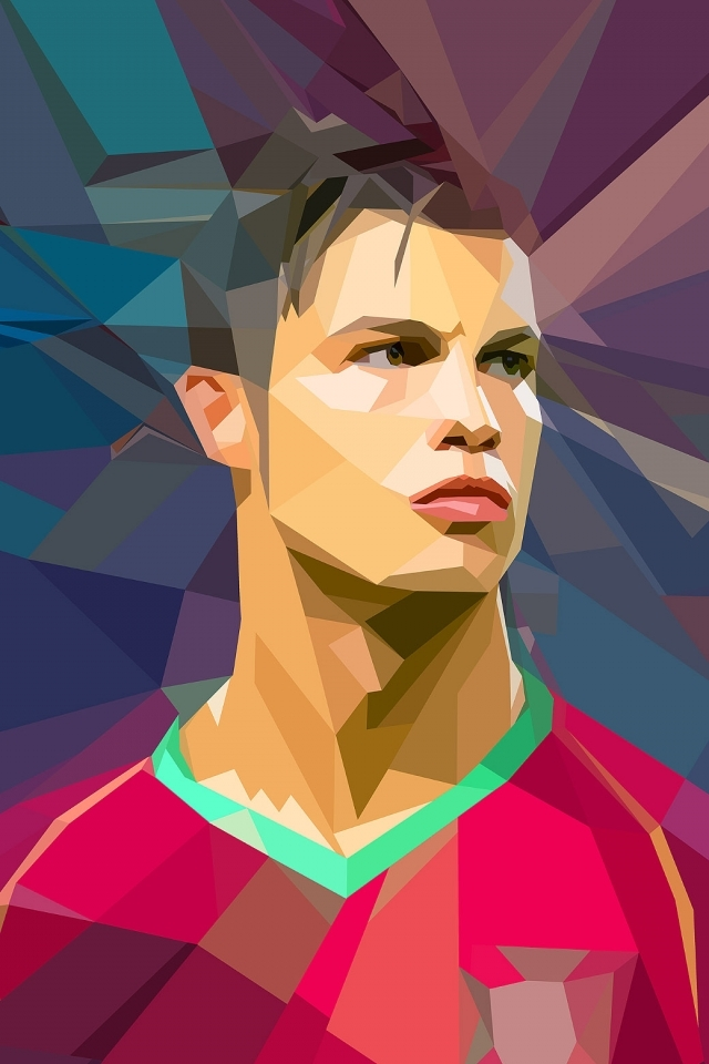 Cristiano Ronaldo Polygons iPhone 4 Wallpaper and iPhone 4S Wallpaper 640x960