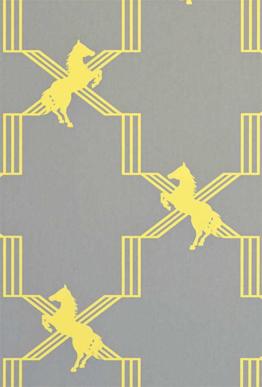 Horse Trellis Wallpaper A grey wallpaper with a clever trellis design 534x788