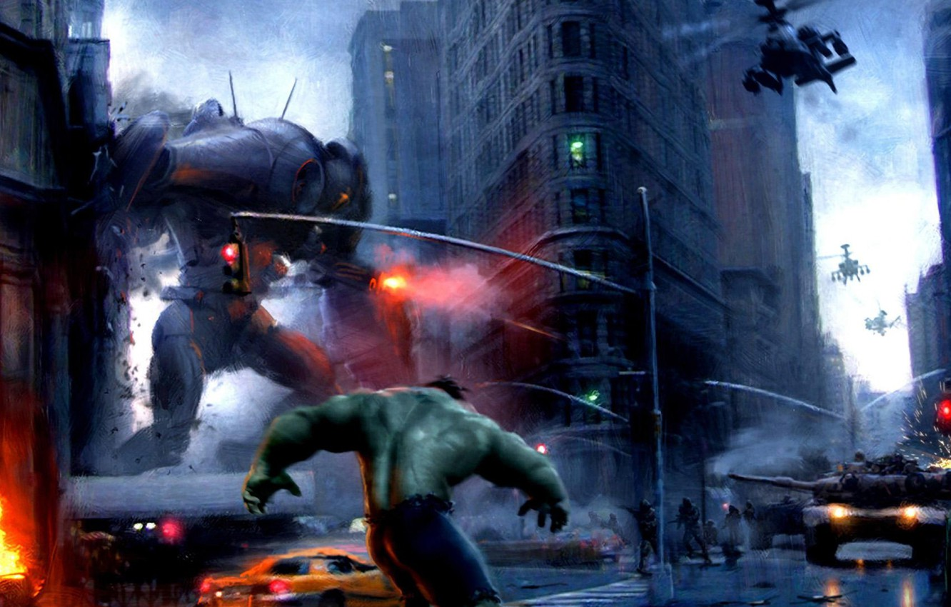 Wallpaper the city fire building robot tank helicopter Hulk 1332x850