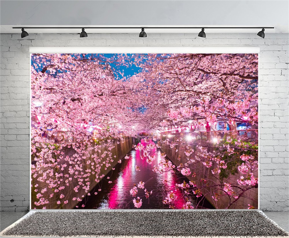Laeacco Dusk Light Drain Cherry Blossoms Scenic Photography 1000x825