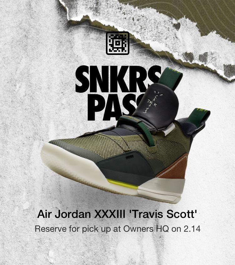 Free download SNKRS Pass Air Jordan XXXIII Travis Scott
