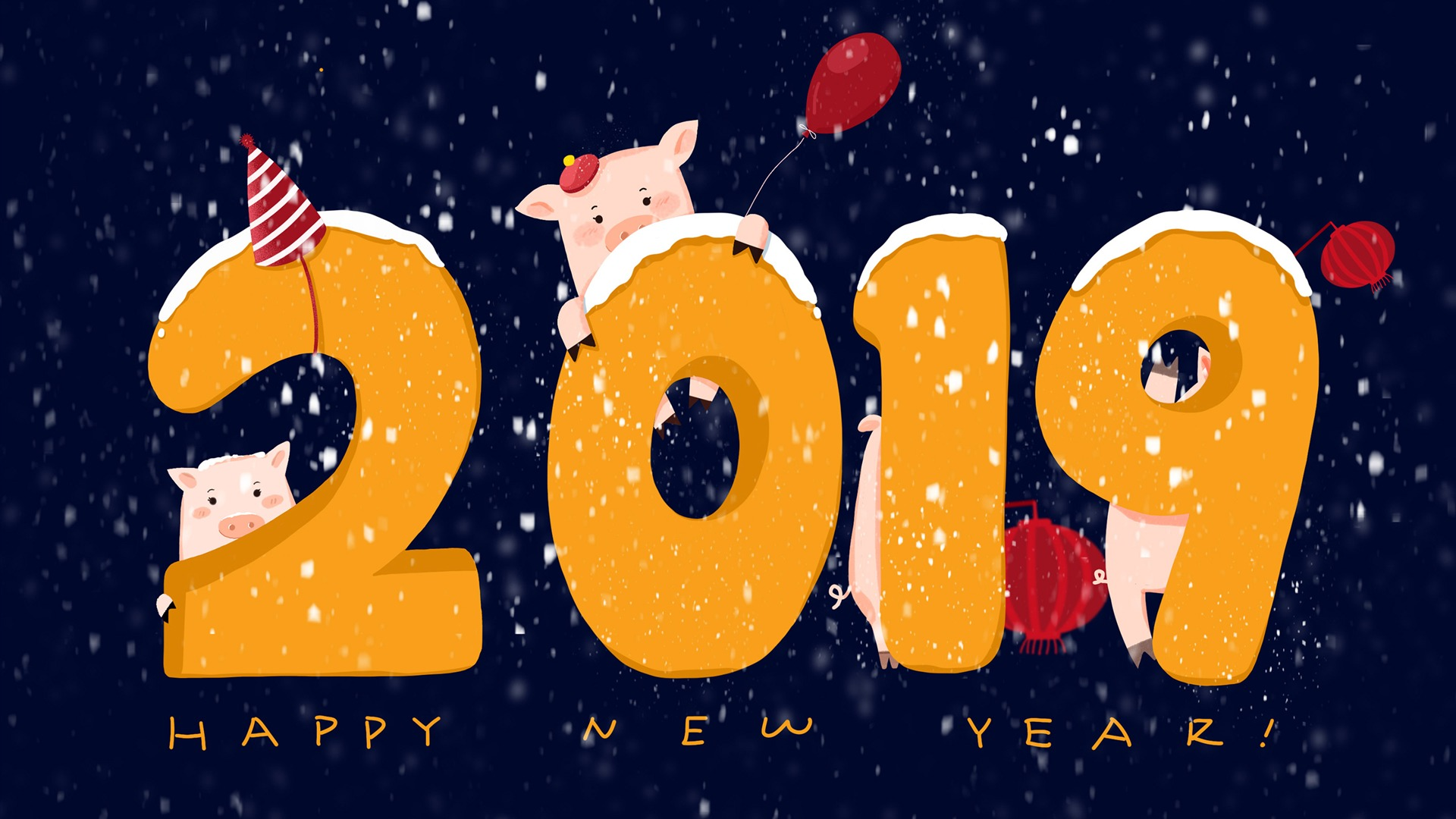 Happy Chinese New Year 2019   Year of Earth Pig HD Wallpaper 1920x1080