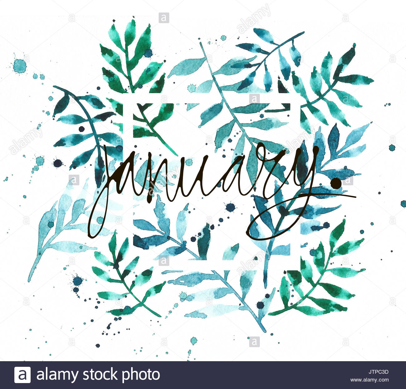 Vintage watercolor palm leaves background with word January Stock 1300x1245