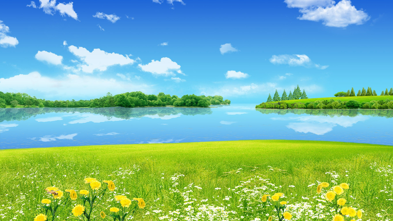 Sunny spring day wallpaper 2286 1366x768