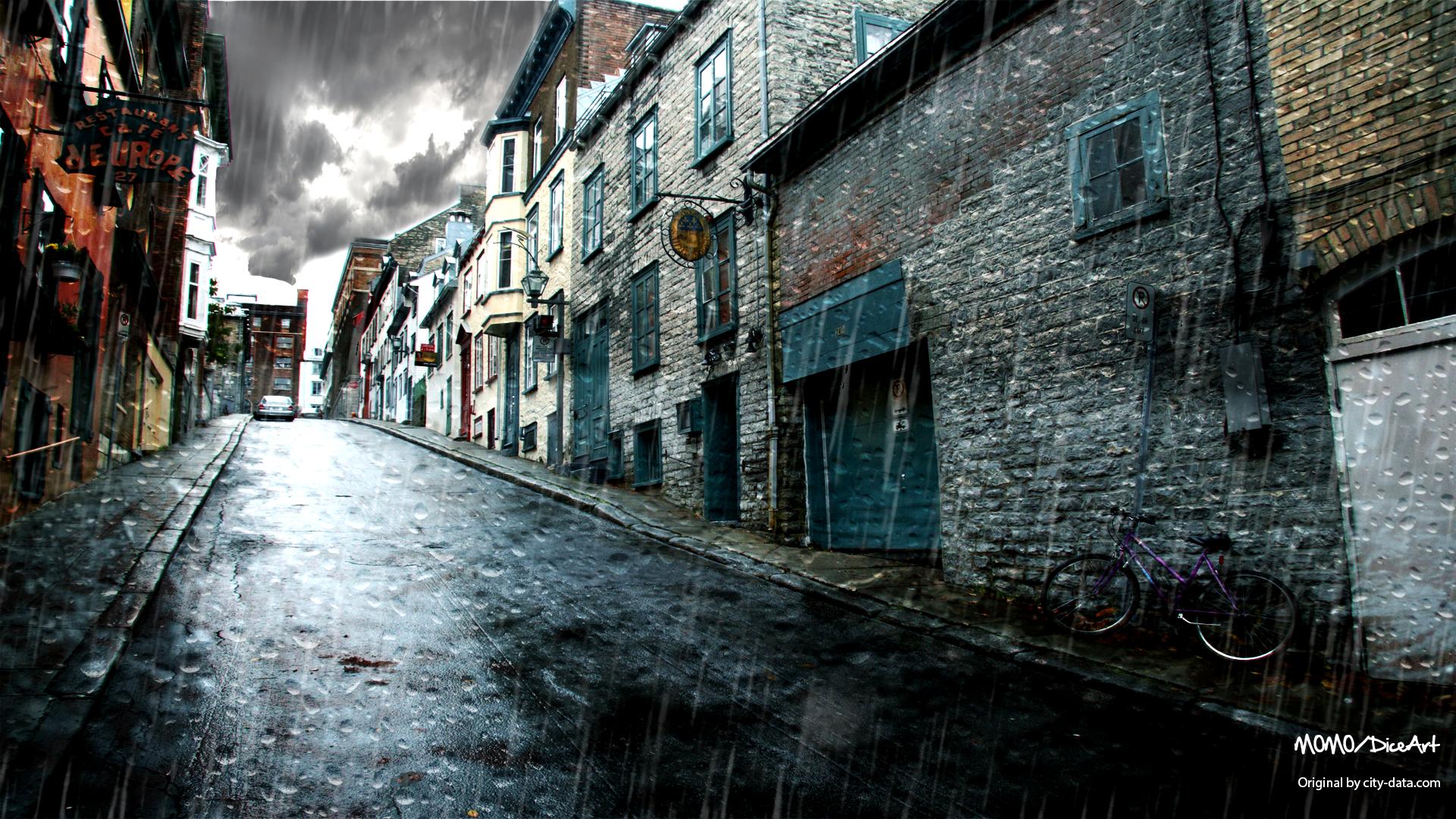 Картинка на рабочий стол городской дождь
