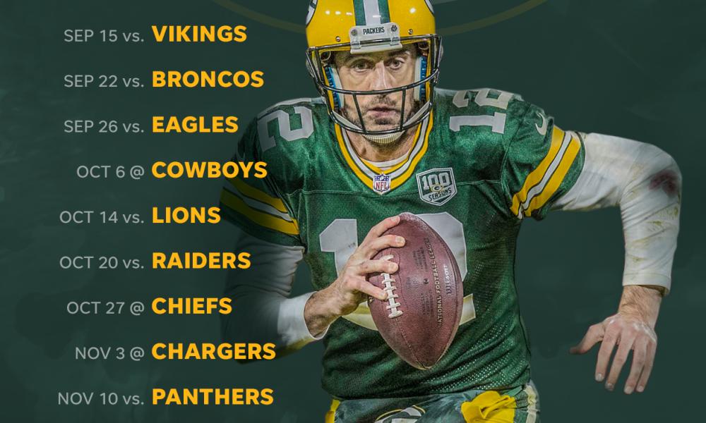 2019 Green Bay Packers Schedule Downloadable Wallpaper 1000x600