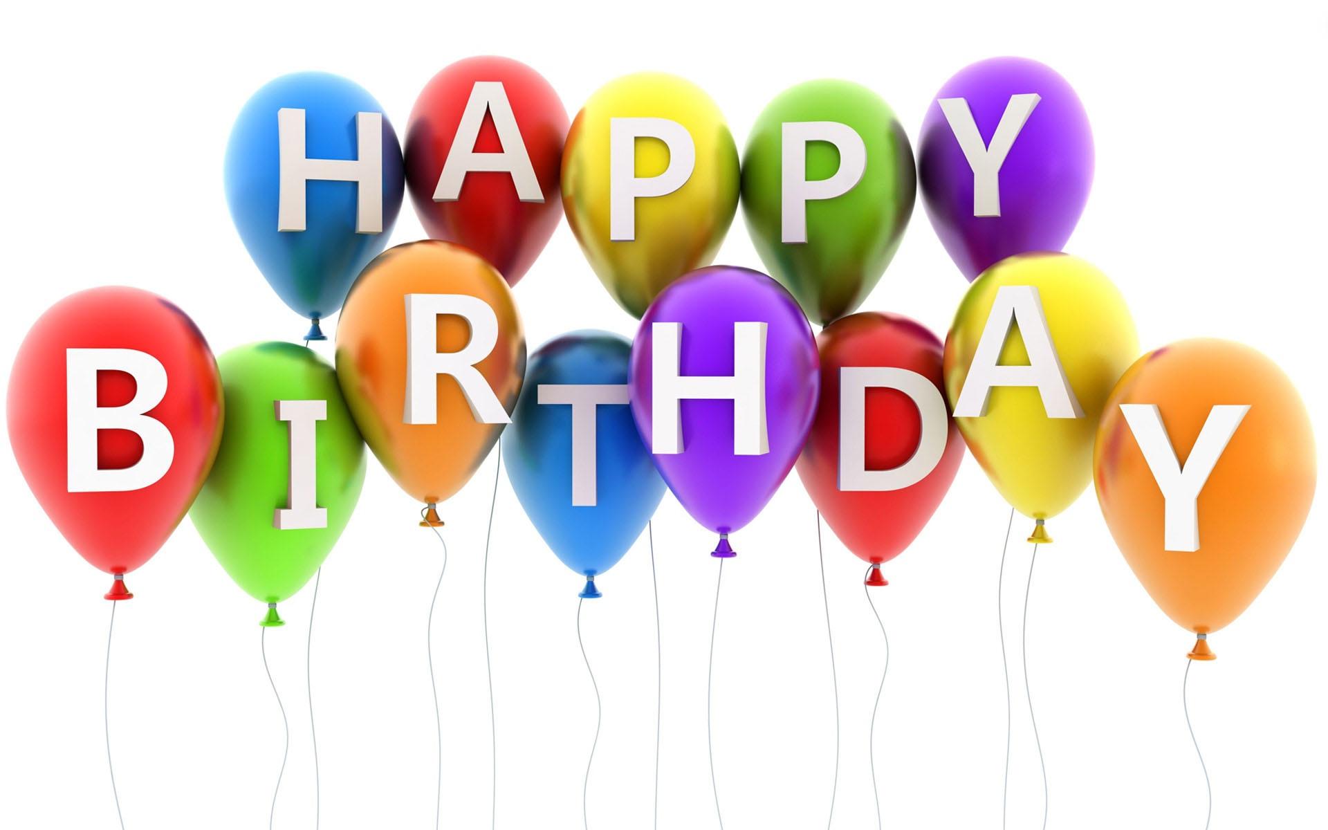 Happy birthday written on balloons 1920x1200