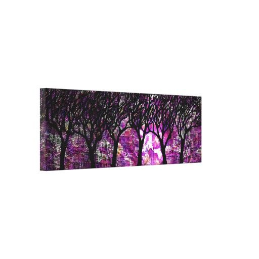 Winter Trees over alcohol ink Background Stretched Canvas Print 512x512