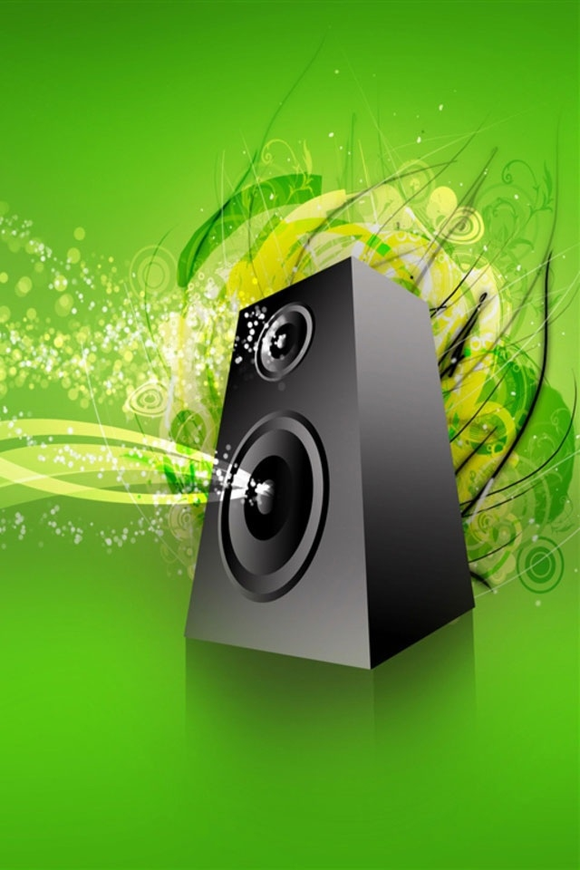 hd 3d vector loudspeaker ipod touch wallpapers backgrounds 640x960