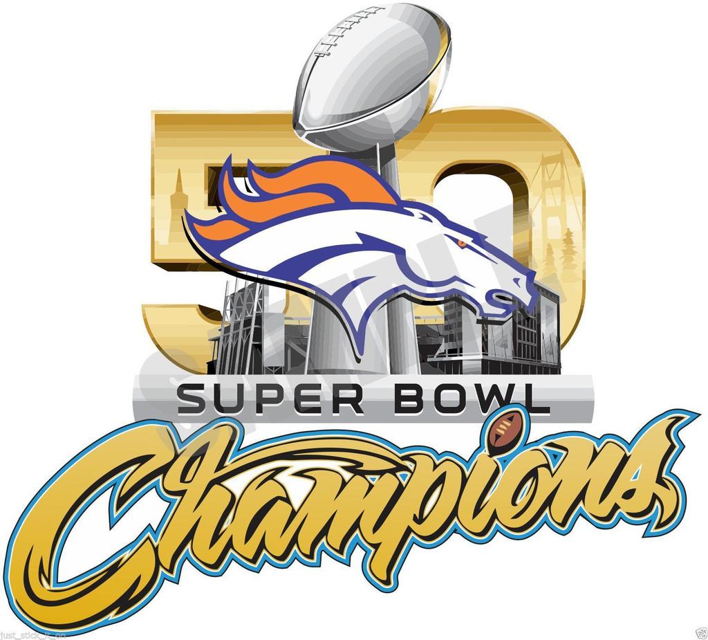Denver Broncos SUPER BOWL 50 CHAMPIONS Decal Sticker   Free Shipping 1024x925
