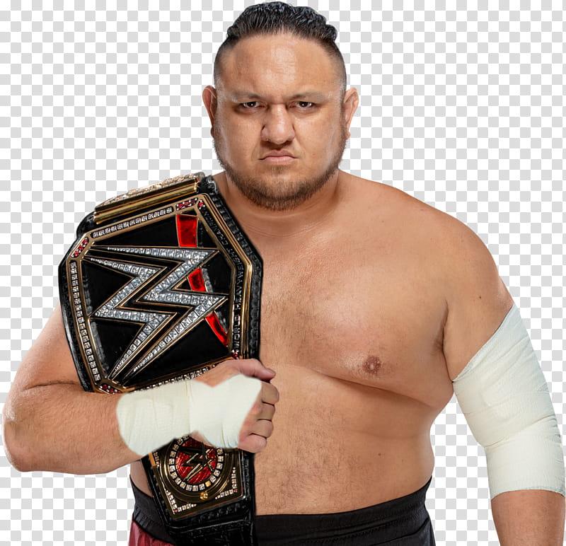 Samoa Joe WWE Champion Custom transparent background PNG clipart 800x772