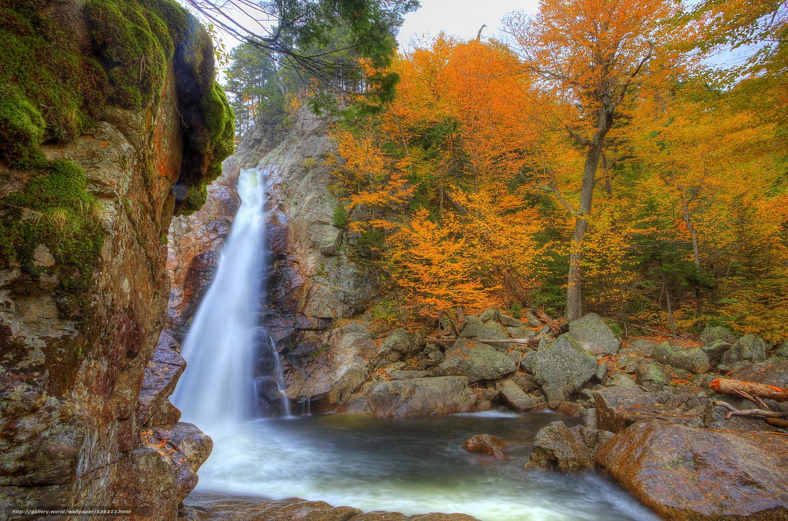 wallpaper waterfall USA autumn Glen Ellis desktop wallpaper 1600x1058