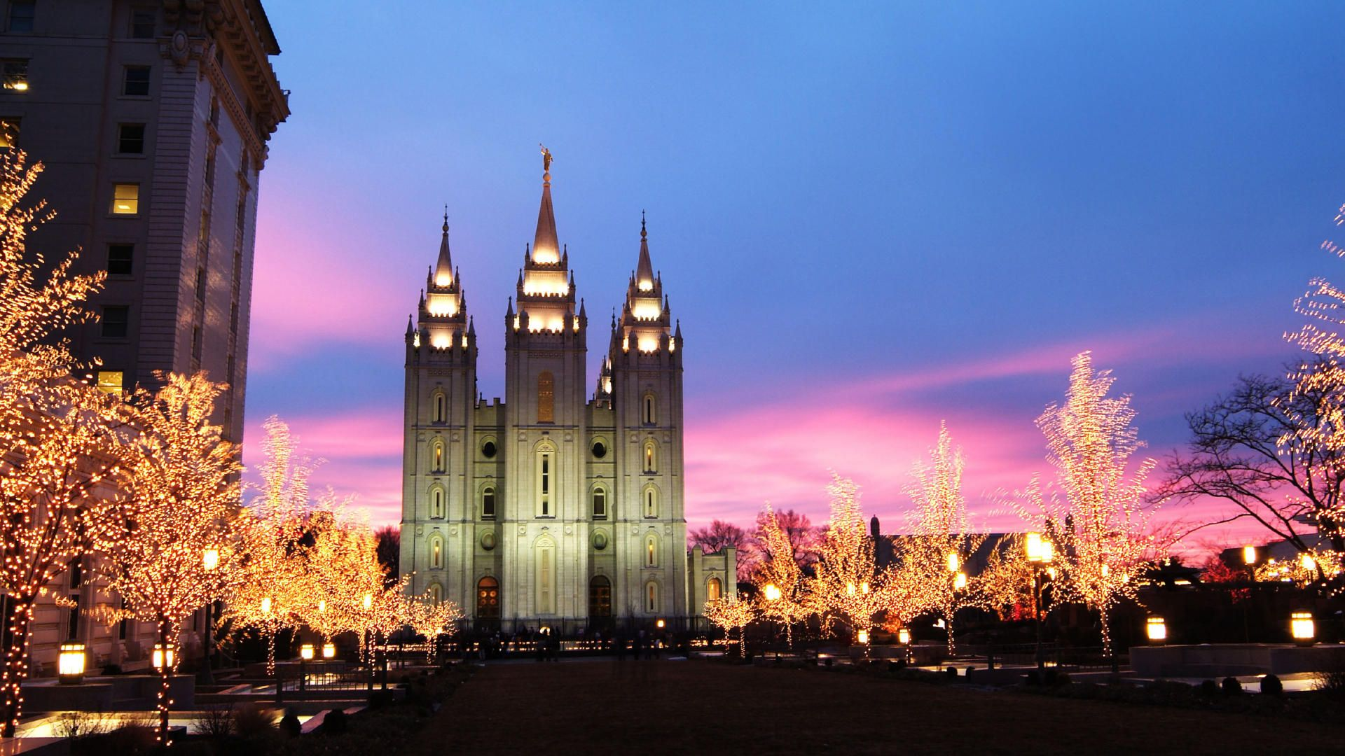 ldsorg temples Salt Lake City at Christmas time Lds temples 1920x1080