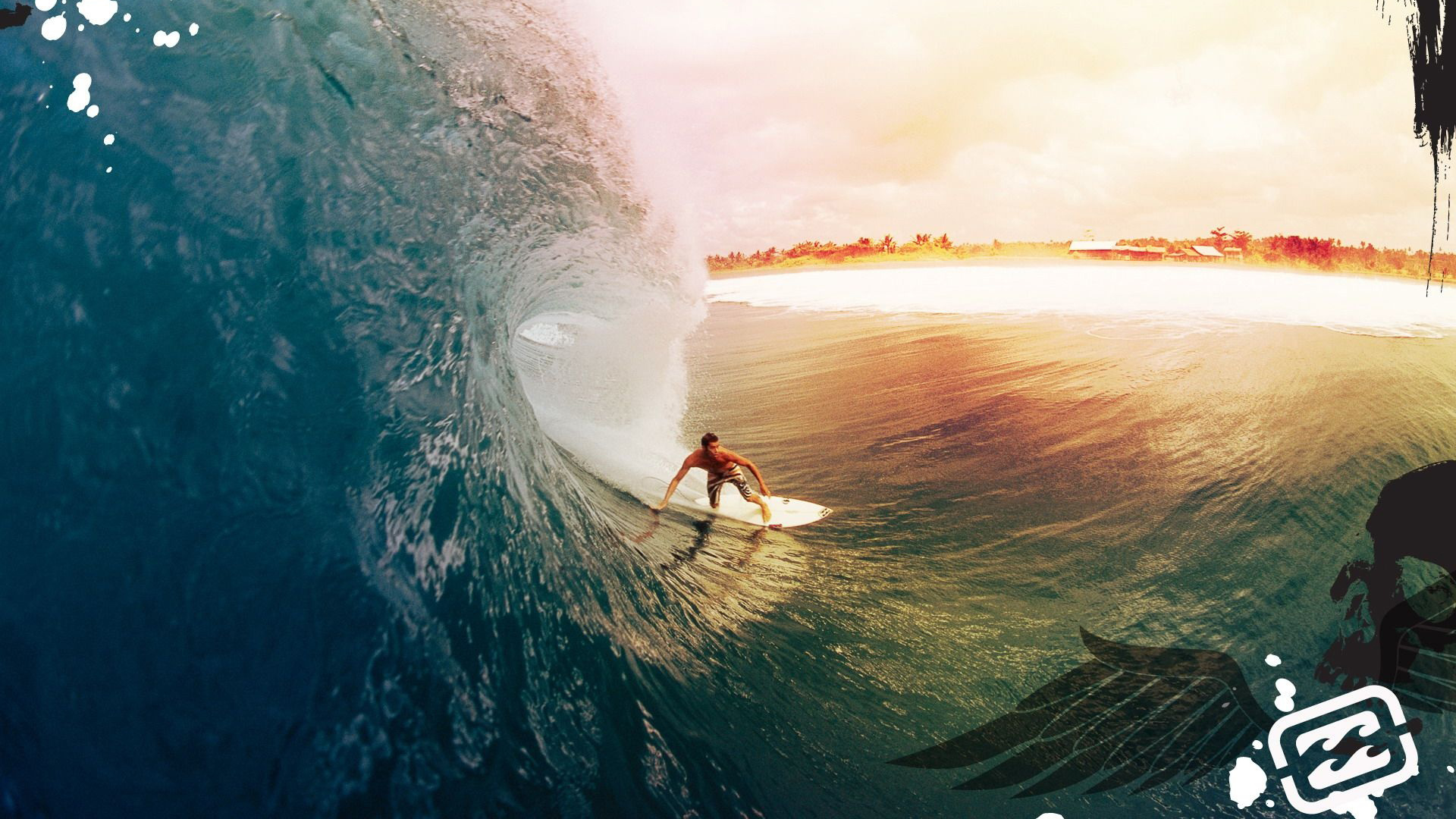 Surfer surfing 1080p Full HD desktop background 1920x1080