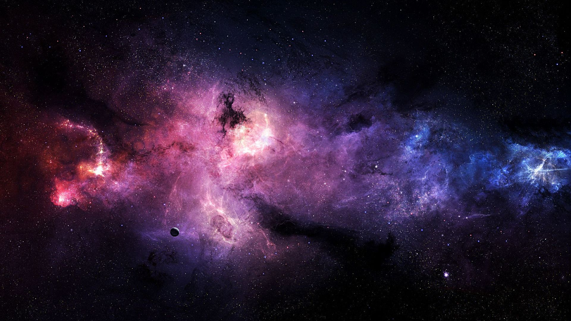 Purple And Blue On Galaxy Wallpaper HD Wallpaper with 1920x1080 1920x1080
