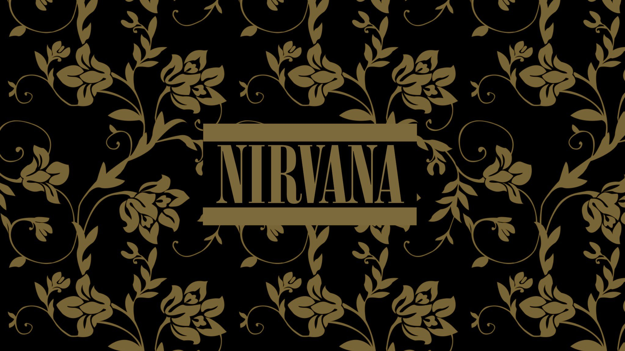 flowers patterns typography Nirvana music bands floral black 2048x1152