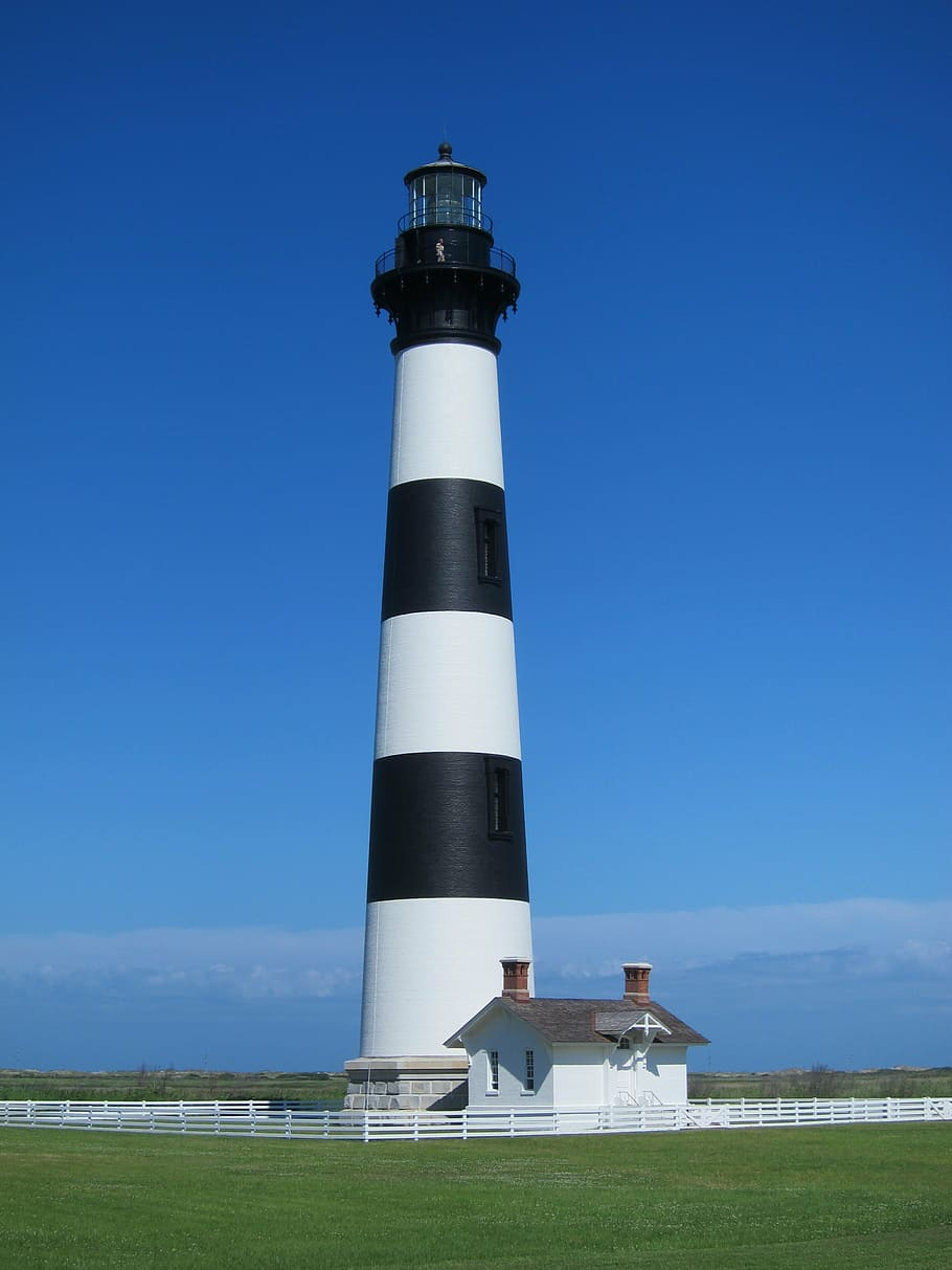 HD wallpaper white and black lighthouse photography bodie island 910x1213