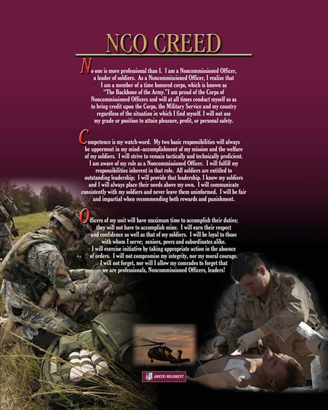 nco creed source http ameddregiment amedd army mil nco ncocreed html 650x813