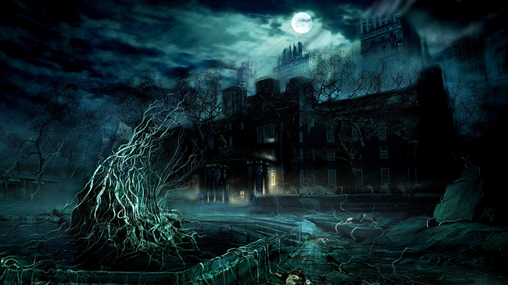 Haunted Cool Background Castle Tree wallpapers HD   202957 1920x1080