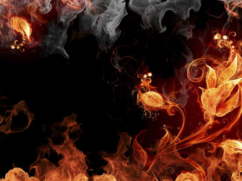 Download mobile wallpaper Flowers Background Fire Smoke 933x700