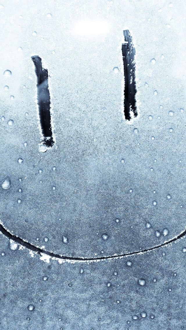 on a frozen window iphone wallpaper tags face frozen smiley window 640x1136
