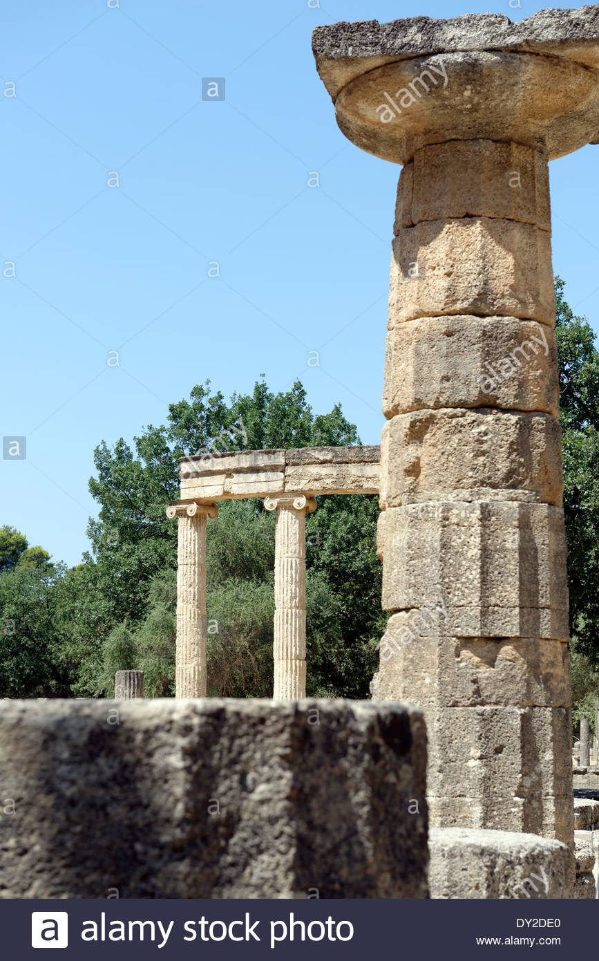 Column from Temple Hera In background circular Philippeion Ancient 867x1390