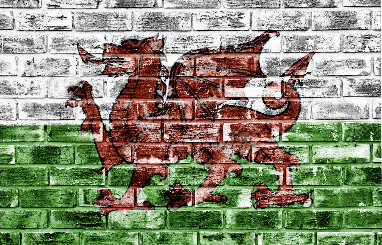 Welsh Flag Applied To A Rough Textured Brick Wall To Be Used 1300x836