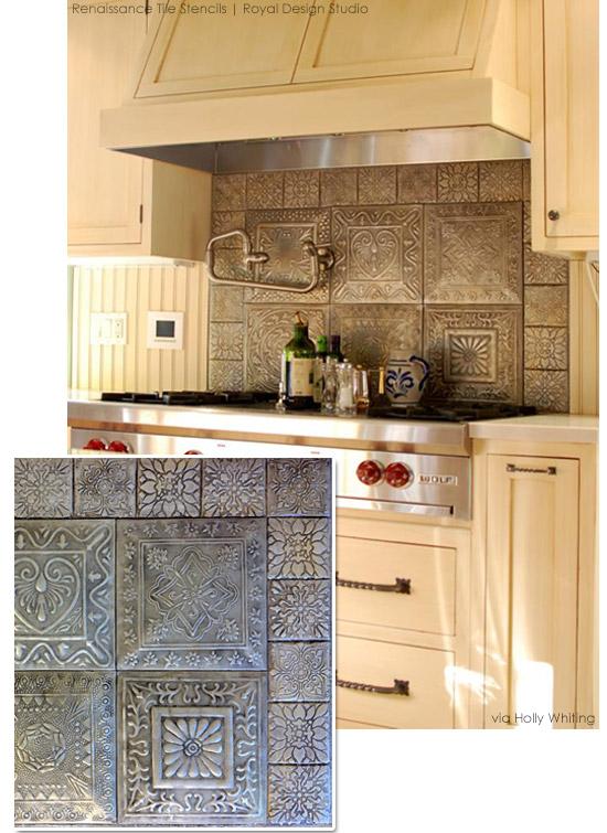 Create a faux tiled backsplash with Renaissance Tile Stencils Royal 550x755
