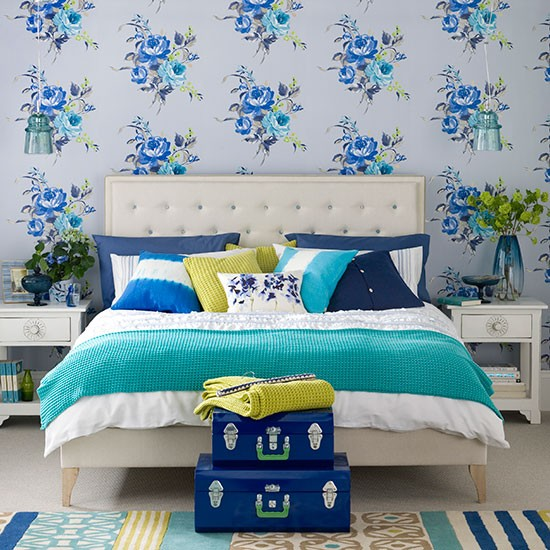 Free Download Modern Blue Bedroom With Floral Wallpaper