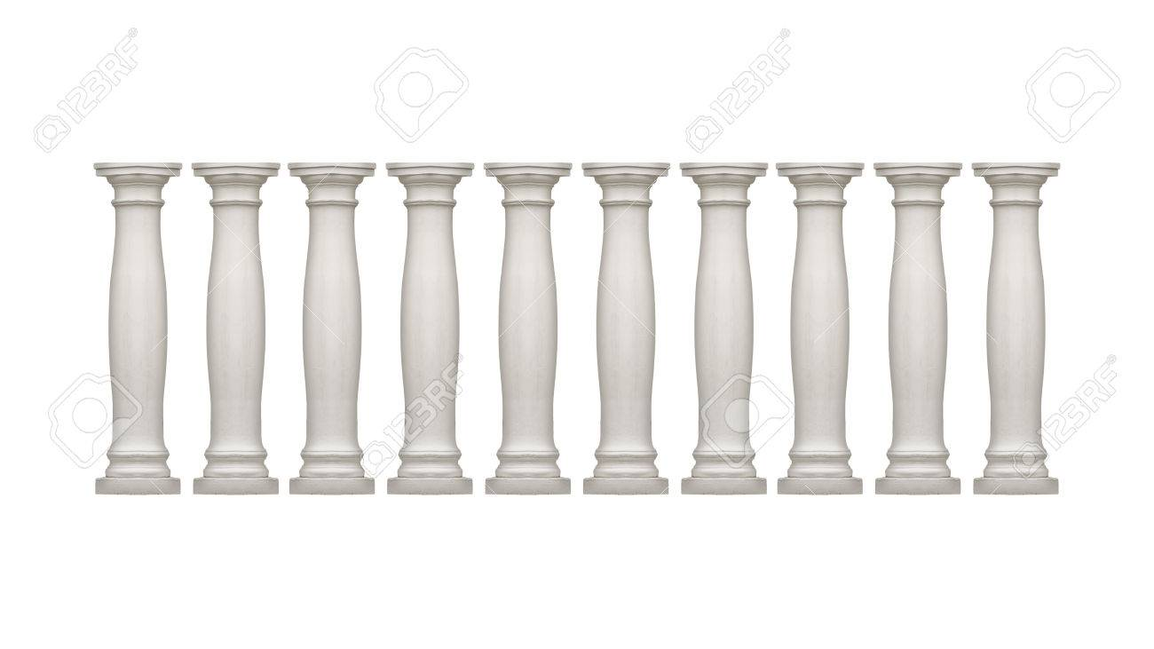 Isolated Neoclassical Style White Columns Over White Background 1300x731