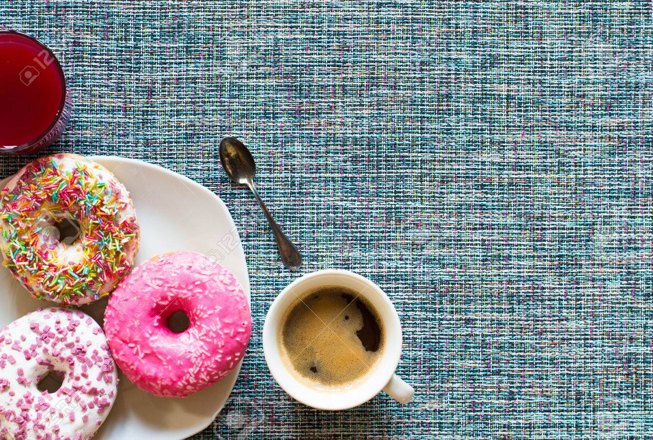 Morning Breakfast With Colorful Donuts And Expresso Coffee On 1300x876