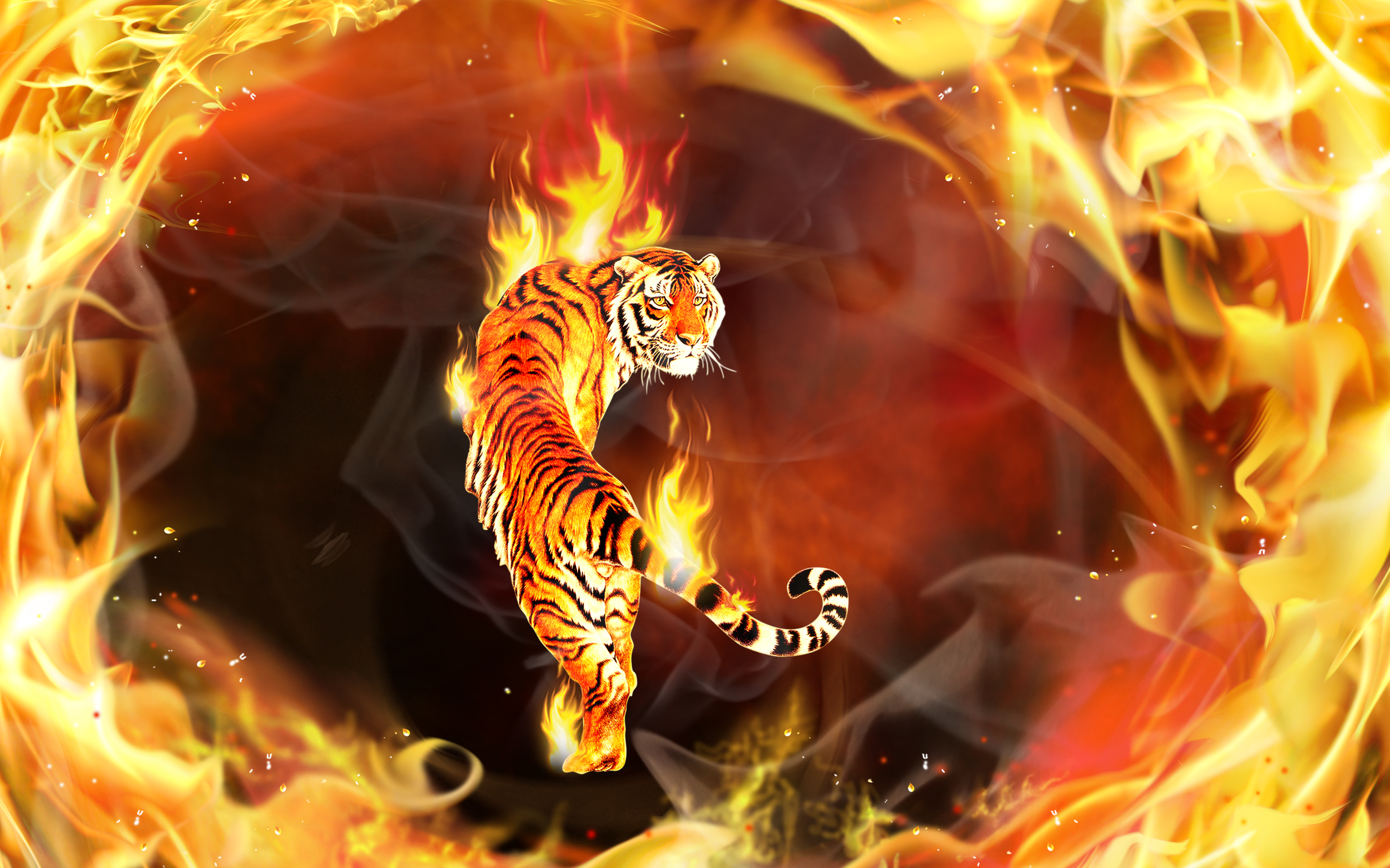Tiger CGI Digital Art 3D Psychedelic Fire Flame Abstract Wallpaper 2880x1800