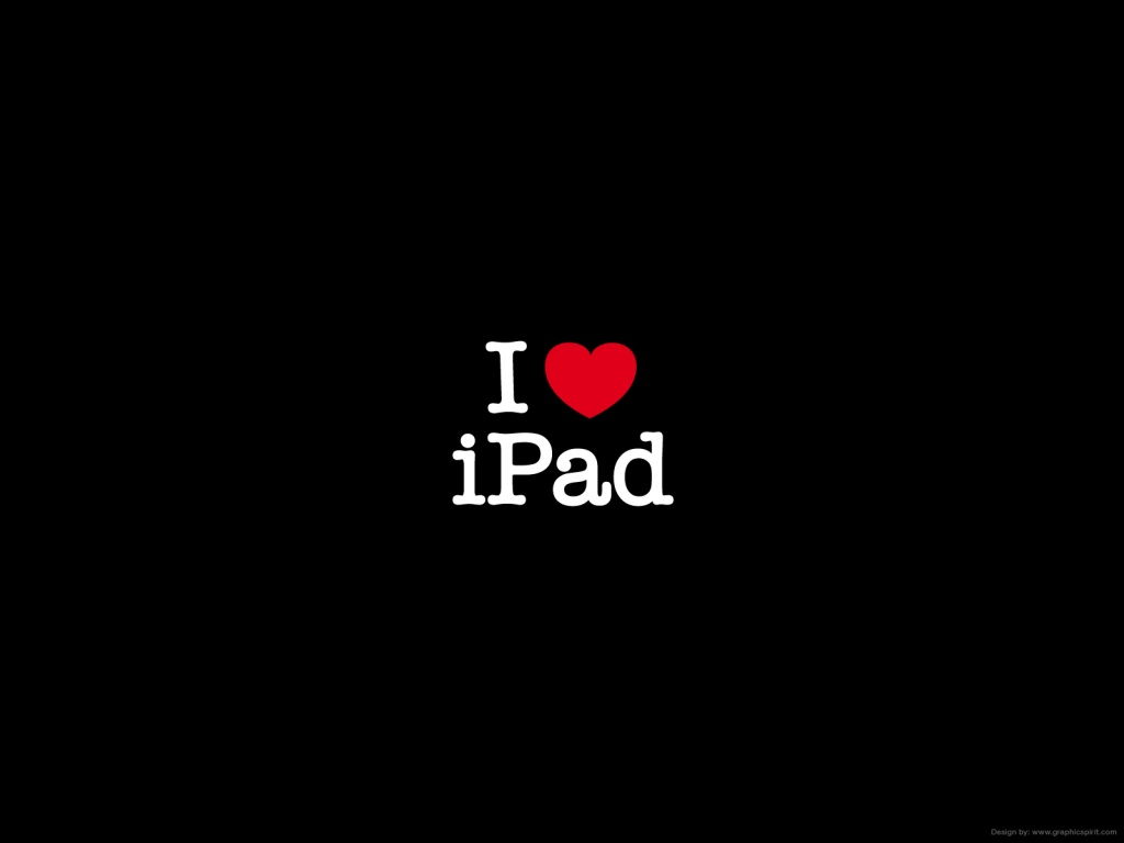 1024x768 I Love iPad black desktop PC and Mac wallpaper 1024x768
