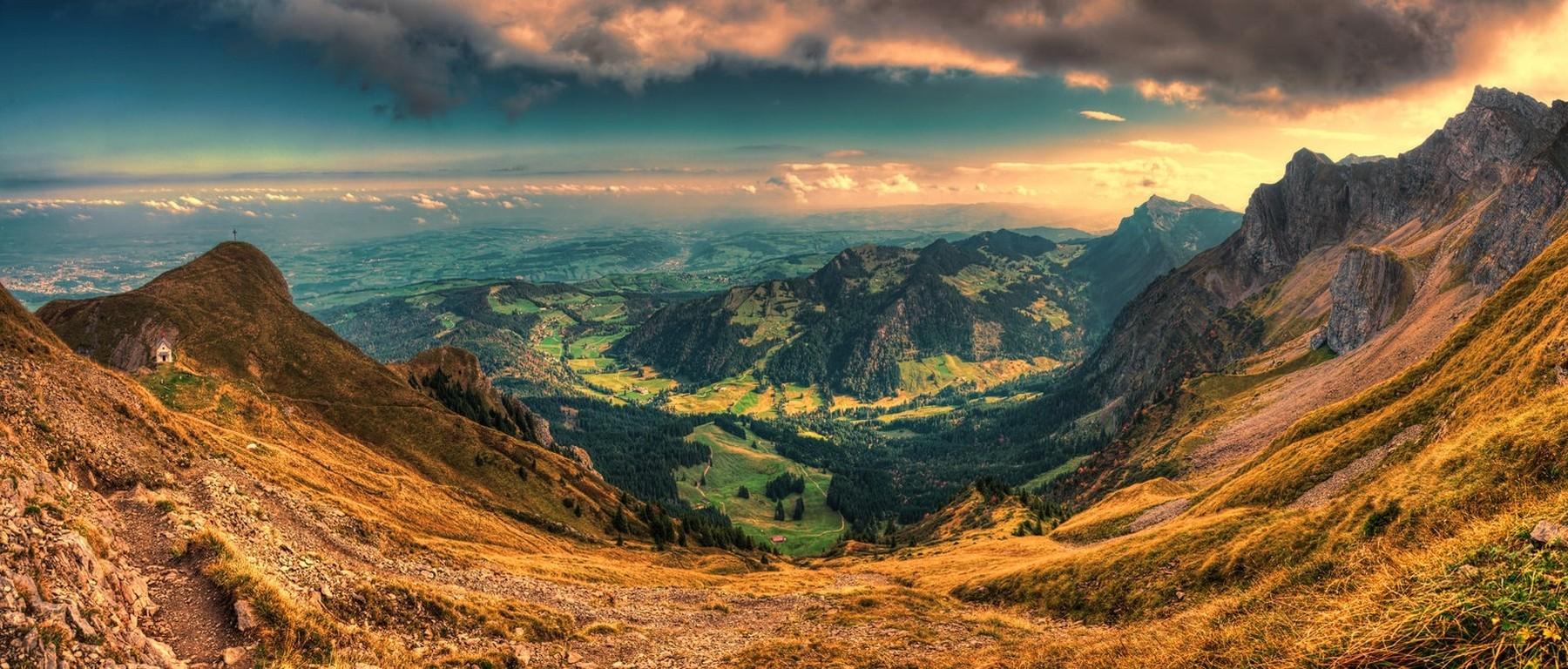 sunset Valley Panoramas Switzerland Nature Mountain Clouds 1800x768