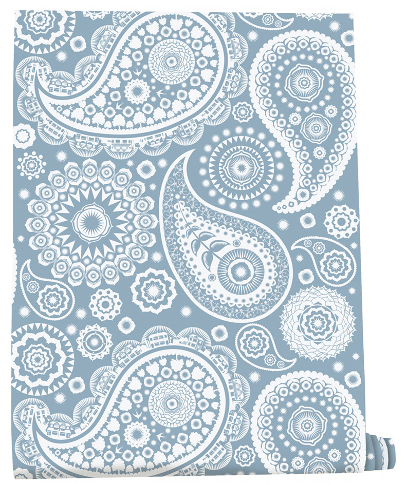 Blue paisley wallpaper wallpapersafari for Paisley wallpaper