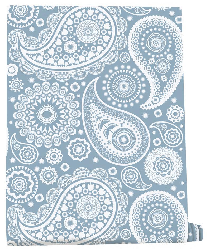 Blue paisley wallpaper wallpapersafari for Paisley wallpaper