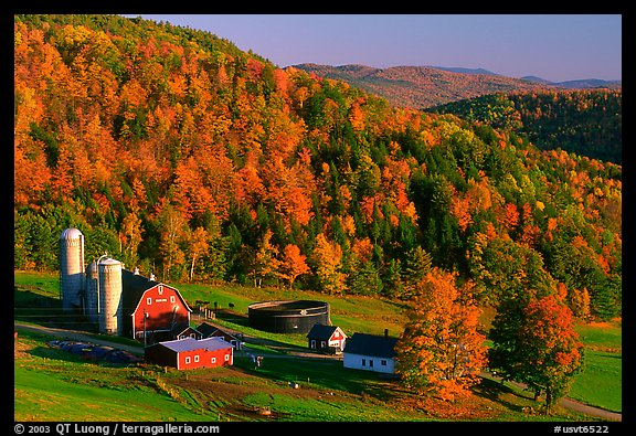 PicturePhoto Farm surrounded by hills in fall foliage Vermont New 576x395