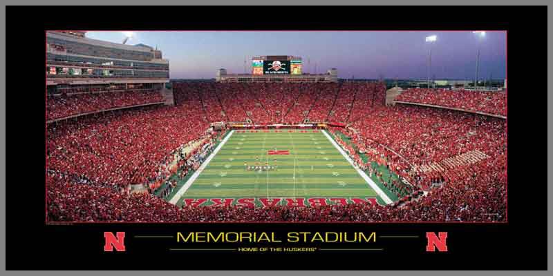 Nebraska Cornhuskers Wood Mounted Poster Print   Memorial Stadium 2006 800x400