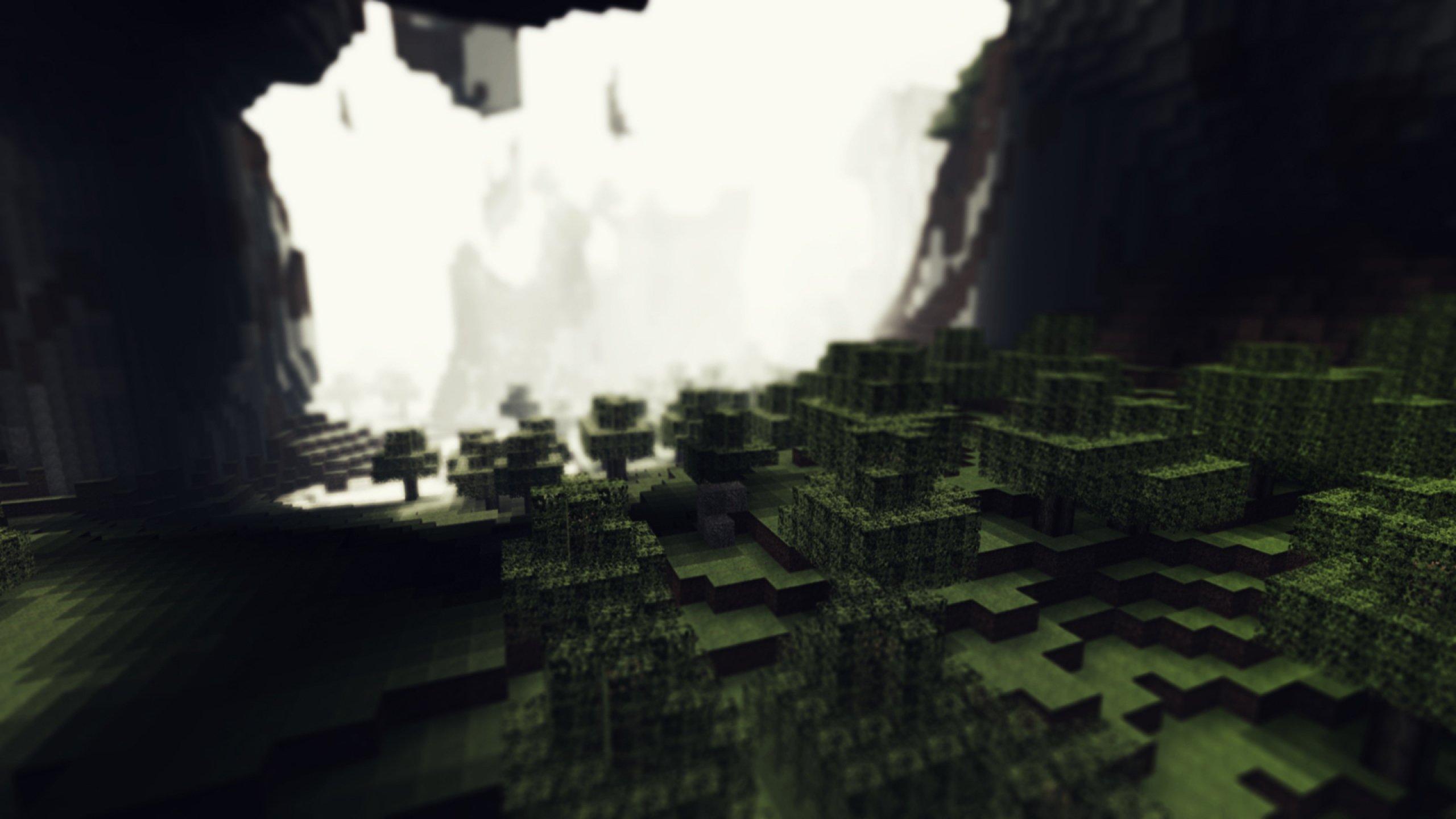 Download Wallpaper 2560x1440 Minecraft Cubes Ground Cave Mac iMac 2560x1440
