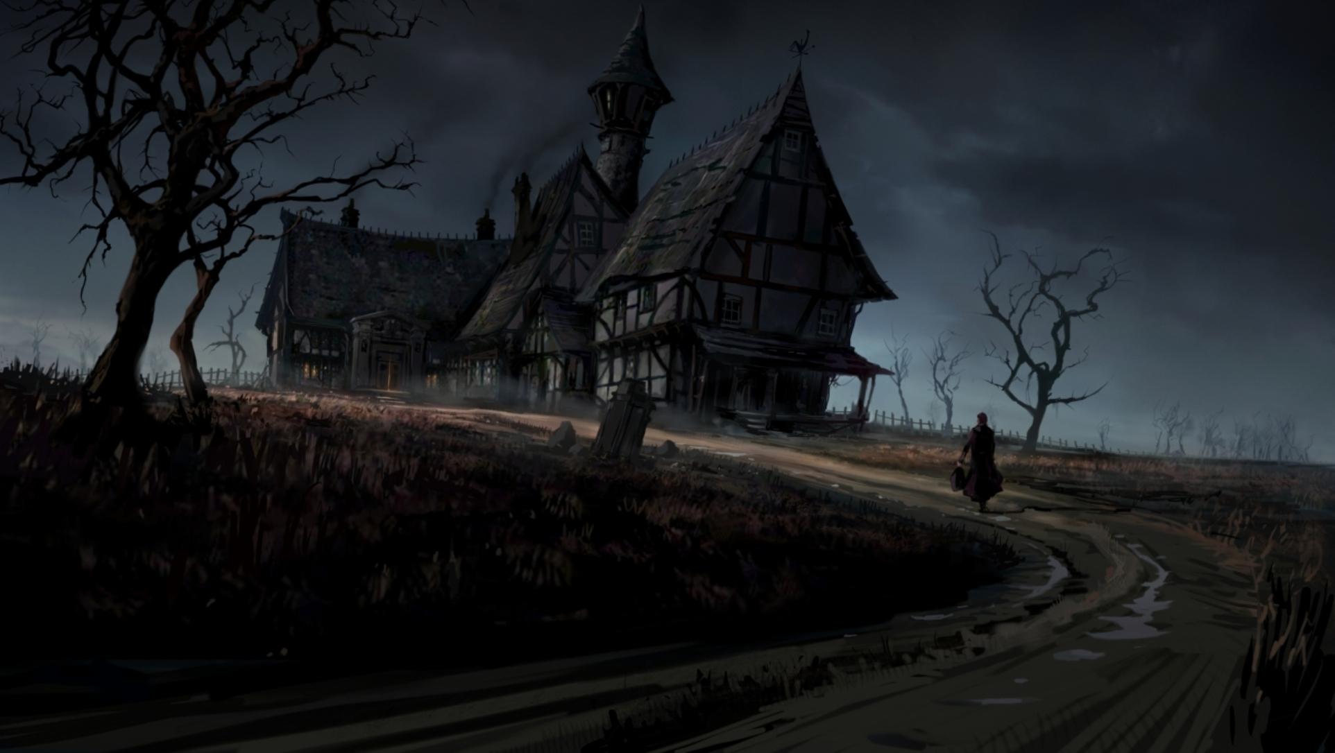 Dark haunted horror gothic house storm rain art wallpaper 1924x1086 1924x1086