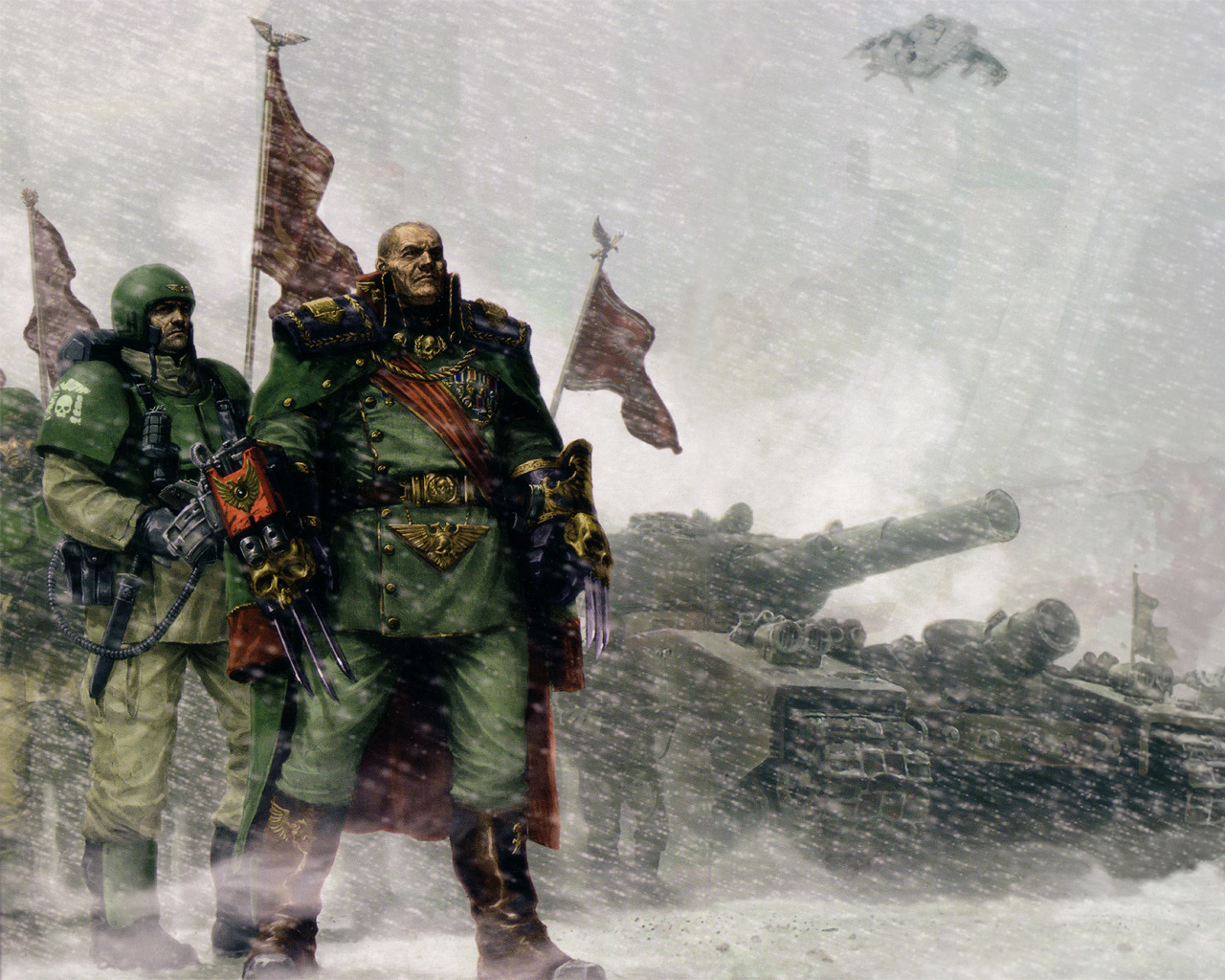 Wallpaper a day imperial soldiers tank warhammer 30k in the snow 1280x1024